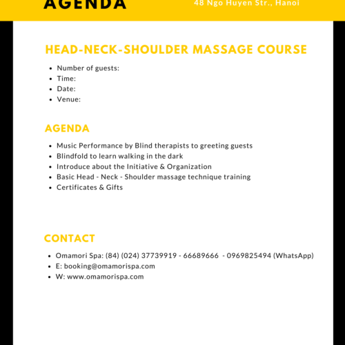 Head Neck Shoulder Massage Course Agenda